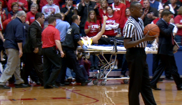 Butler's Rotnei Clarke gives the thumbs up after injuring neck against Dayton.