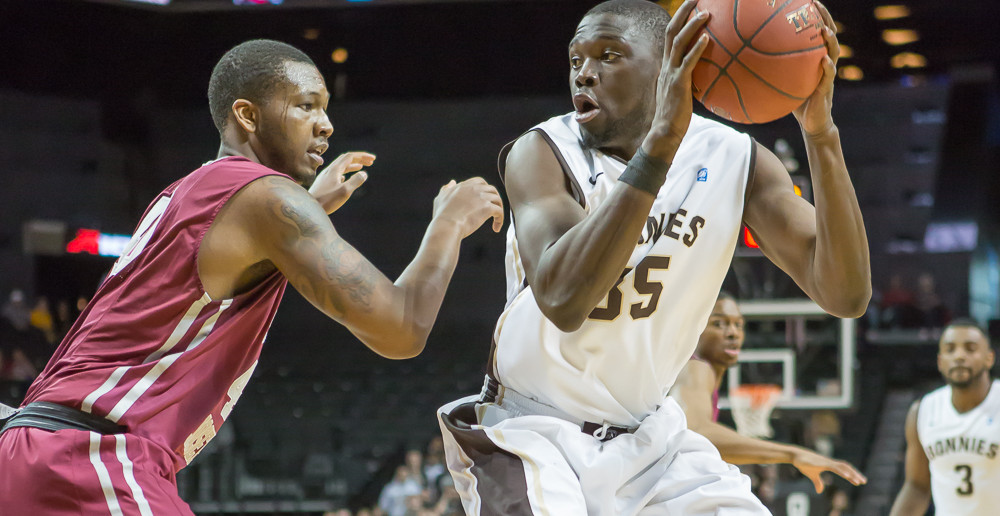 St. Bonaventure's Youssou Ndoye faces up in the post during the second round of the Atlantic 10 tournament.